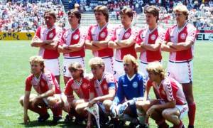 The Denmark team before their Mexico 86 match against West Germany.